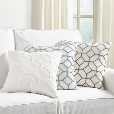 Inman Textured Trellis Pillow Ivory - Ballard Designs