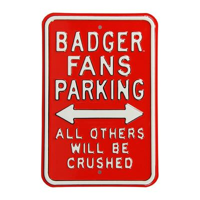 """Wisconsin Badgers 12"""" x 18"""" College Parking Sign - Red"""
