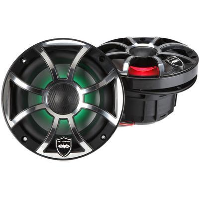 """Wet Sounds REVO 6-XSB-SS Marine RGB 6.5"""" Coax Black XS Open Grill"""