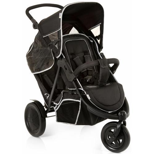 Hauck Geschwisterwagen Freerider Black, 15 kg, mit schwenk- und feststellbarem Vorderrad; Kinderwagen, Kinderwagen für Geschwister; Geschwisterkinderwagen schwarz Kinder Buggies