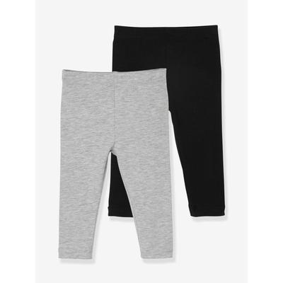 2er-Pack Mädchen Baby Leggings Oeko Tex® schwarz/grau Gr. 74 von vertbaudet