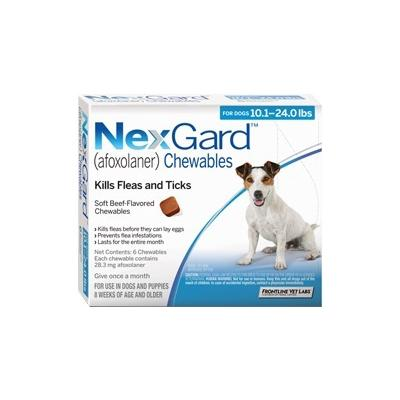 Nexgard For Medium Dogs 10.1-24 Lbs (Blue) 28mg 3 Chews