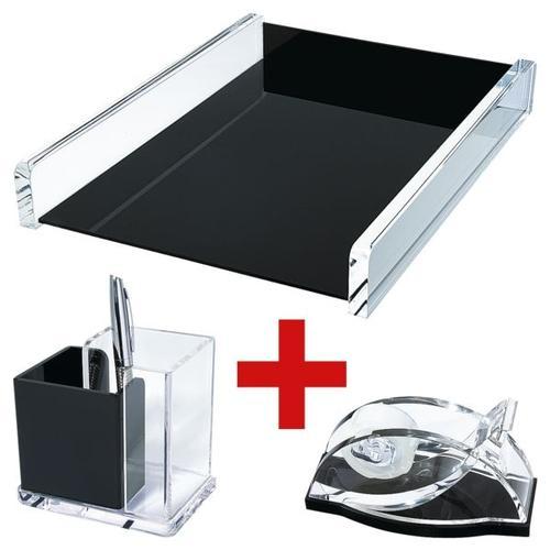 3-tlg. Schreibtisch-Garnitur »acryl exklusiv« schwarz, Wedo