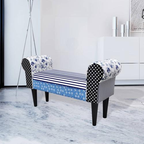 vidaXL Patchwork Sitzbank Country Living Stil Blau & Weiß