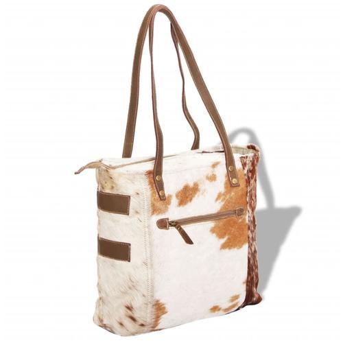 vidaXL Shopper Tasche Canvas und echtes Ziegenfell