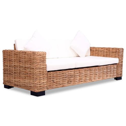 vidaXL 3-Sitzer-Sofa Natürliches Rattan