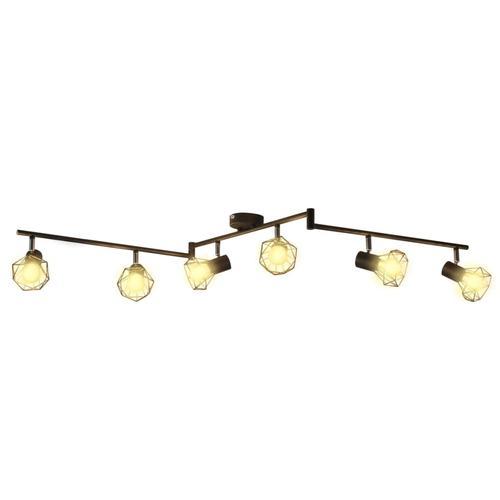 vidaXL Deckenstrahler Industrie-Stil Drahtgestell + 6 LED-Glühlampen schwarz