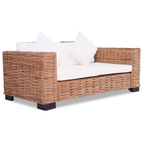 vidaXL 2-Sitzer-Sofa Natürliches Rattan