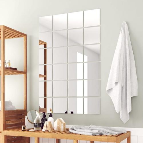 vidaXL 24-tlg. Spiegelfliesen-Set Quadratisch Glas