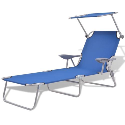 vidaXL Sonnenliege mit Sonnenschutz Stahl Blau