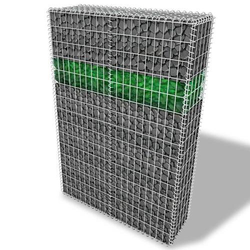 vidaXL Garten-Gabionenwand mit Glassteinen und LED-Lampe 100x30x150 cm