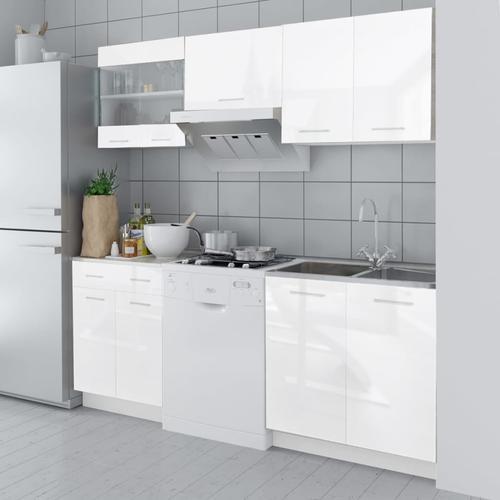vidaXL Küchenzeile 5-tlg. Hochglanz Weiß 200 cm