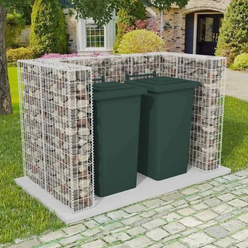 vidaXL Gabionen-Mülltonnenverkleidung für 2 Tonnen Stahl 180x100x120cm