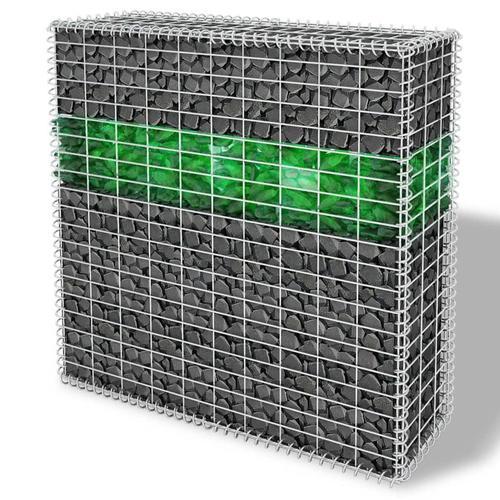 vidaXL Garten-Gabionenwand mit Glassteinen und LED-Lampe 100x30x100 cm