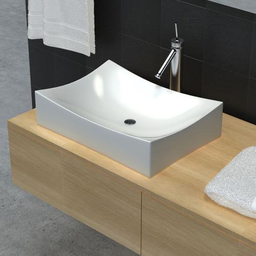 vidaXL Keramik Porzellan Waschtisch Waschbecken Hochglanz Weiß