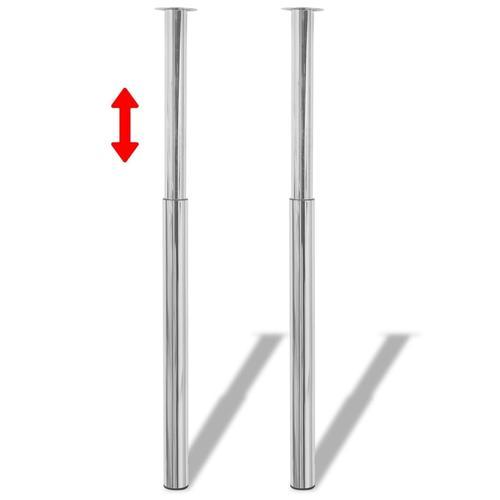 vidaXL 2 x Teleskopfuß Tischfuß Stützfuß Tischbein Chrom 710 mm-1100 mm
