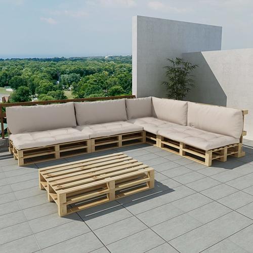 vidaXL 15-tlg. Garten-Lounge-Set Holzpaletten Sandweiß