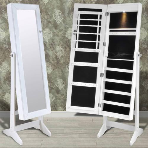 vidaXL Weißer Spiegelschrank mit Schmuckständer + LED Licht