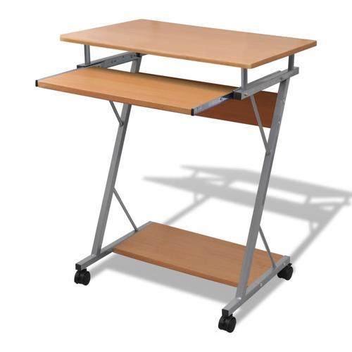 vidaXL Computertisch Computerwagen PC Tisch Bürotisch Laptop auf Rollen braun
