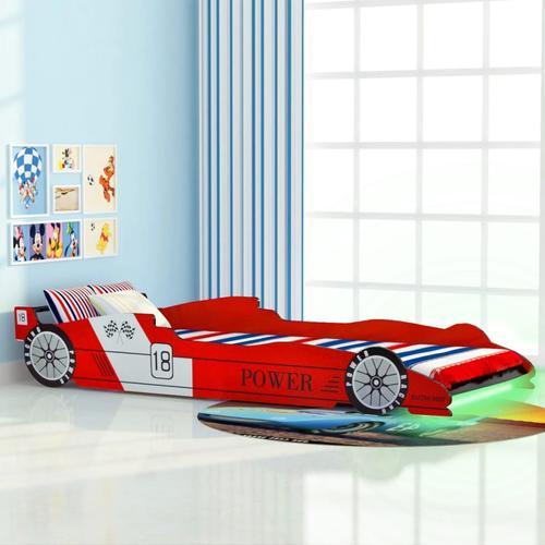vidaXL Kinderbett mit LED im Rennwagen-Design 90 x 200 cm Rot