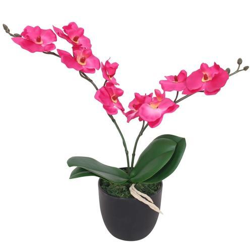 vidaXL Künstliche Orchidee mit Topf 30 cm Rot