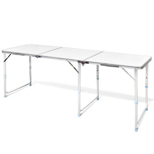 vidaXL Campingtisch zusammenklappbar höhenverstellbar Aluminium 180 x 60 cm