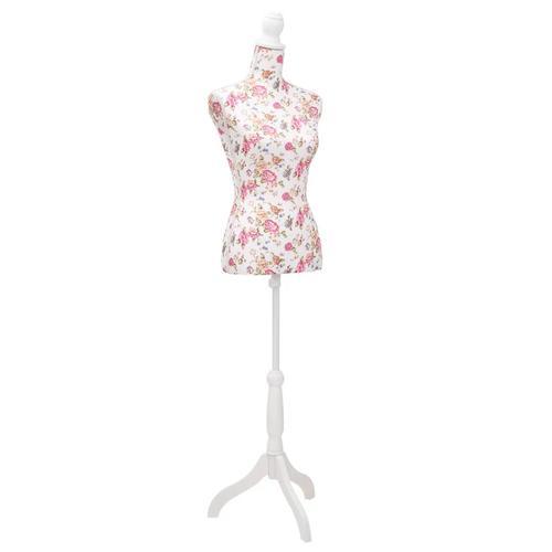 vidaXL Damenbüste Schneiderpuppe Büste Torso Mannequin Baumwolle Weiß Rose