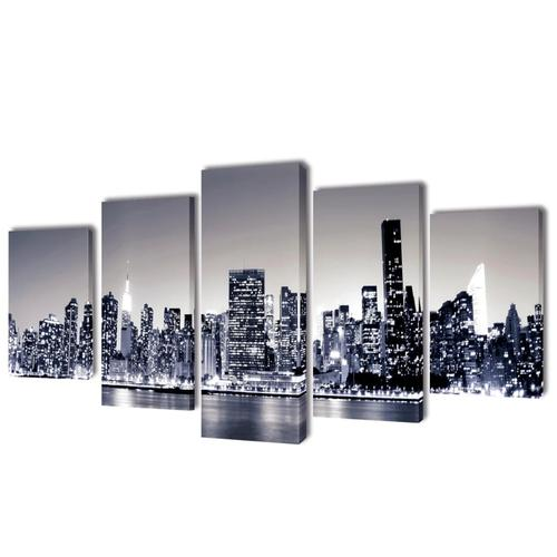 vidaXL Bilder Dekoration Set monochrome New York 200 x 100 cm