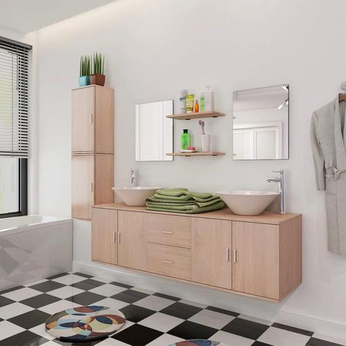 vidaXL 11-tlg. Badmöbel-Set mit Waschbecken und Wasserhahn Beige