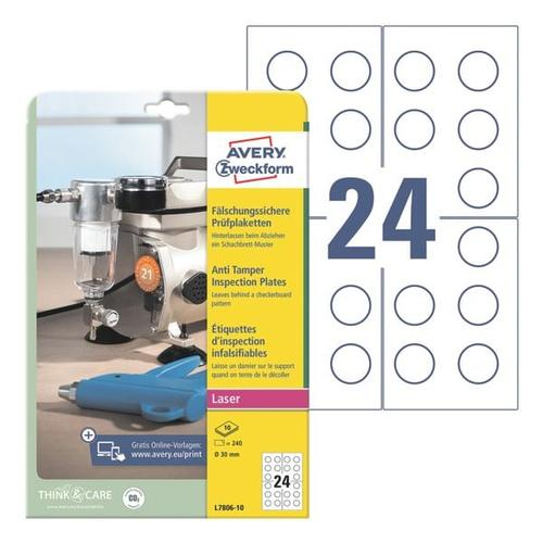 240er-Pack Prüfplaketten, fälschungssicher, Avery Zweckform