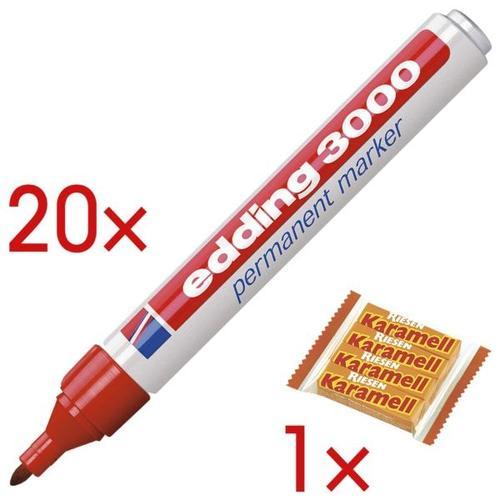 20x Permanent-Marker »3000« inkl. 1x Karamellbonbons »Karamell Riesen« rot, Edding
