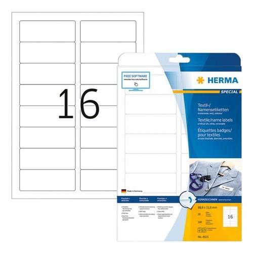 320er-Pack Namens-/Textiletiketten »4515« weiß, Herma