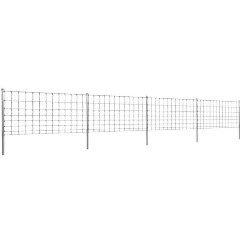 vidaXL Gratenzaun Wildzaun mit Pfosten Verzinktes Eisen 50 m 100/8/30