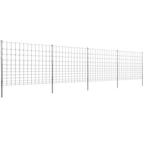 vidaXL Gratenzaun Wildzaun mit Pfosten Verzinktes Eisen 50 m 150/12/30