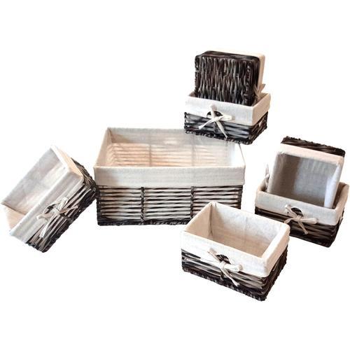 Franz Müller Flechtwaren Aufbewahrungsbox, (Set, 7 St.) braun Kleideraufbewahrung Aufbewahrung Ordnung Wohnaccessoires Aufbewahrungsbox