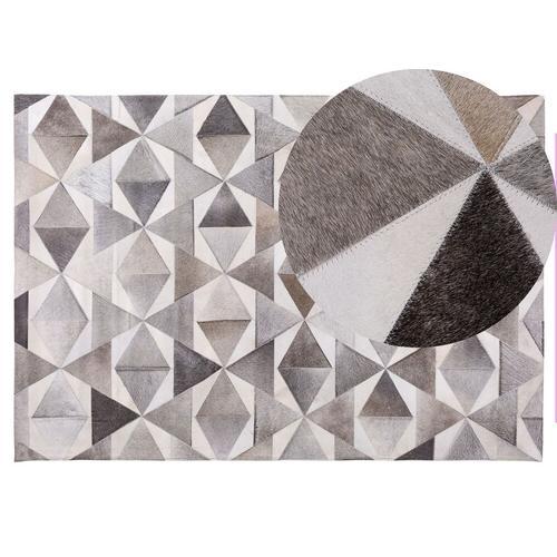 Teppich Grau 140 x 200 cm aus Leder Handgefertigt Kurzhaarteppich Rechteckig Modern