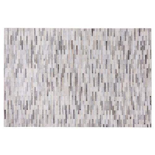 Teppich Grau 160 x 200 cm aus Leder Kurzhaarteppich Handgefertigt Patchwork Rechteckig Modern