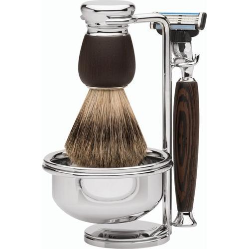 Erbe Shaving Shop Premium Design MILANO Dachshaar & Mach3 Wengeholz Rasiergarnitur mit Seifenschale Rasierset