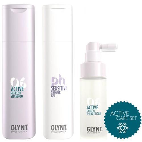 Aktion - Glynt Active Care Set Refresh Shampoo + Sensitive Shower Gel + Active Ginkgo Energeticum Haarpflegeset