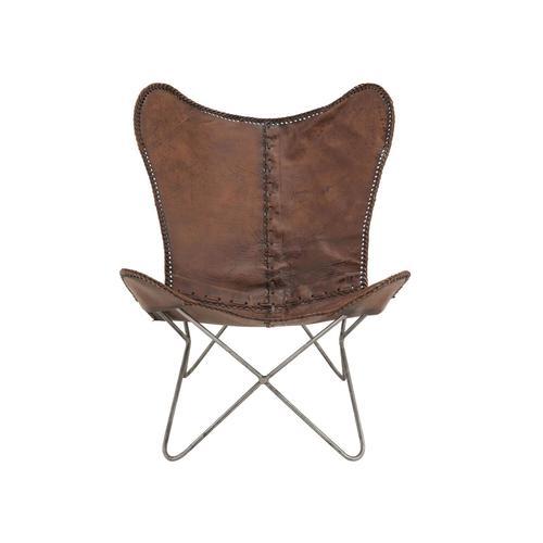 die Faktorei Sessel Butterfly 2 mit echtem Kuhfell
