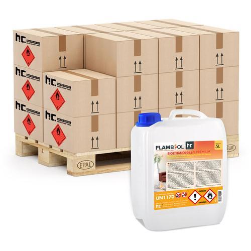 12 x 5 Liter Bioethanol 96,6% Premium für Ethanol-Brenner oder Kamine