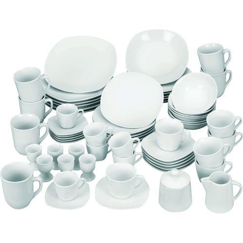 van Well Kombiservice Atrium, (Set, 62 tlg.), für 6 Personen weiß Geschirr-Sets Geschirr, Porzellan Tischaccessoires Haushaltswaren