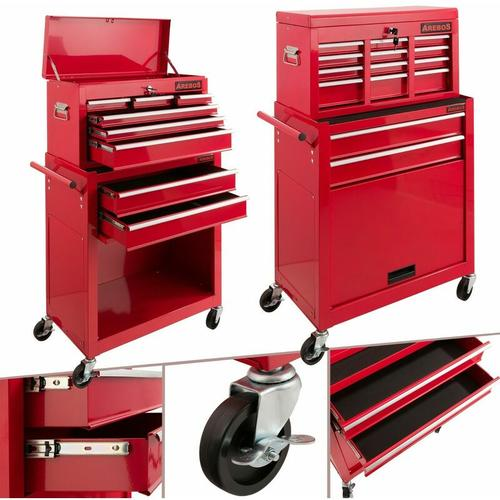 AREBOS Werkstattwagen Werkzeugwagen Werkzeug Rollwagen Werkzeugkasten 9 Fächer Rot - Rot