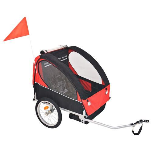 vidaXL Kinder Fahrradanhänger Rot und Schwarz 30 kg
