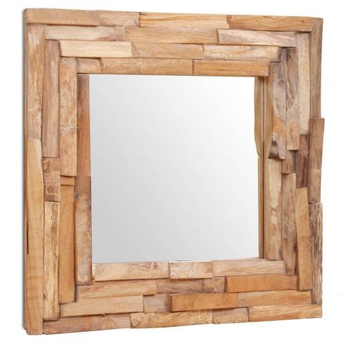 vidaXL Dekorativer Spiegel Teak 60 x 60 cm Quadratisch