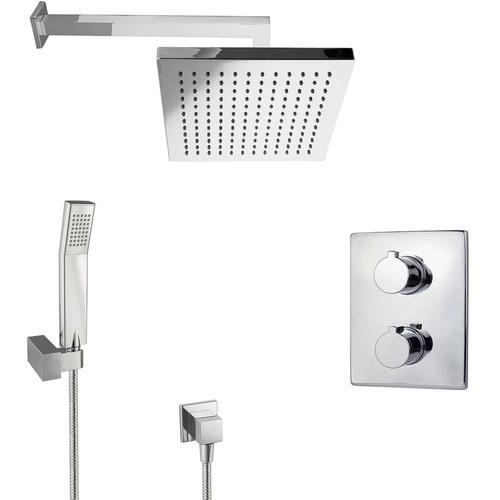 Regendusche Unterputz Dusch Set mit Thermostat eckig