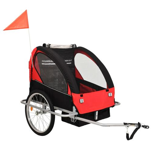 vidaXL 2-in-1 Kinder Fahrradanhänger & Kinderwagen Schwarz und Rot