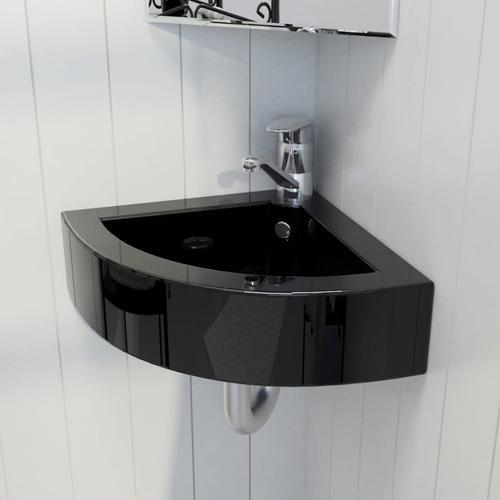 vidaXL Waschbecken mit Überlauf 45 x 32 x 12,5 cm Schwarz