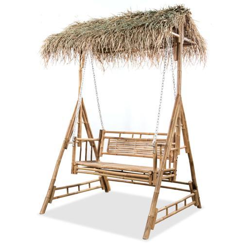vidaXL 2-Sitzer-Schaukelbank mit Palmblättern Bambus 202 cm