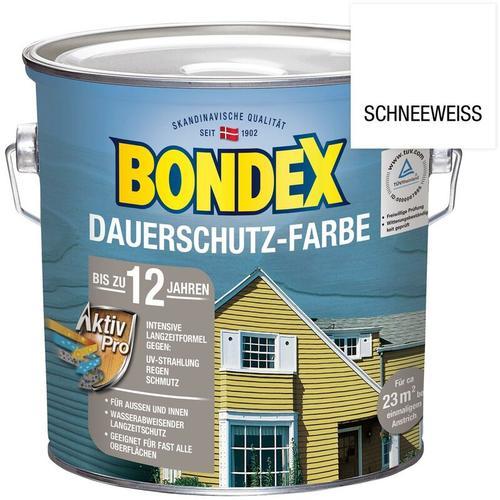 Bondex Dauerschutz-Farbe Holzschutzfarbe Schneeweiß, 2,5 Liter